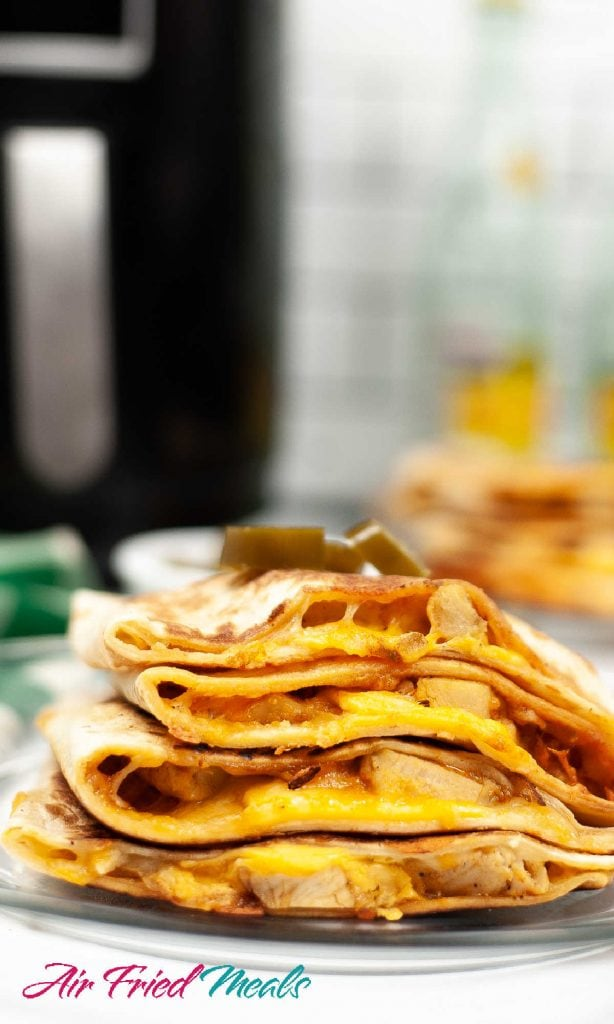 side view of a stack of quesadillas.