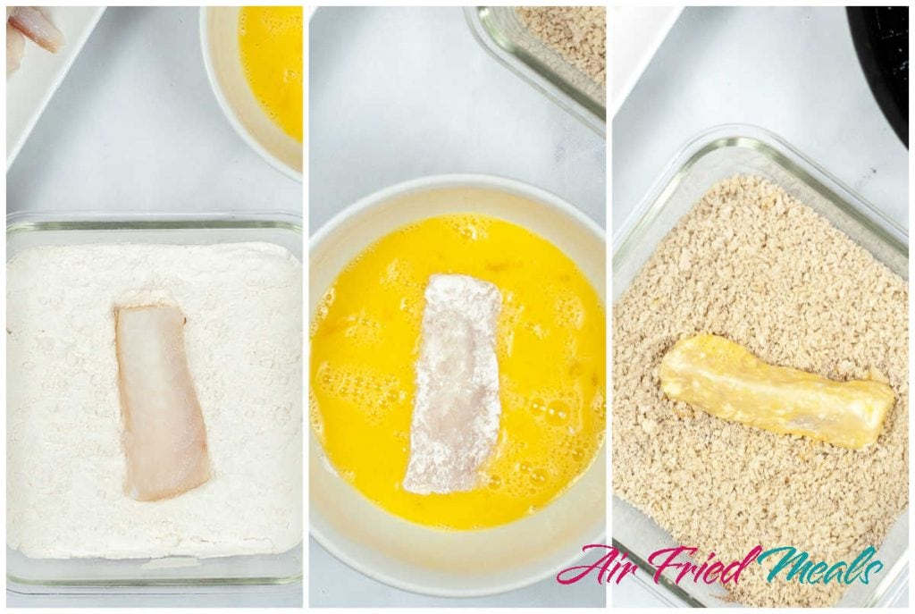 Collage of three images - left is fish stick in flour, middle is fish stick in egg mixture, and right image is fish stick in bread crumbs.