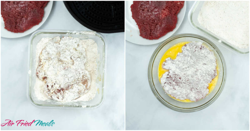 Collage - on left side: chicken fried steak dredged with flour in a container of flour.  On right side: chicken fried steak with flour on it in a bowl of eggs.