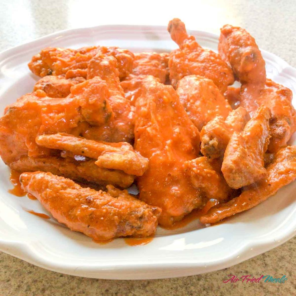 Plate of Air Fryer Buffalo Chicken Wings.