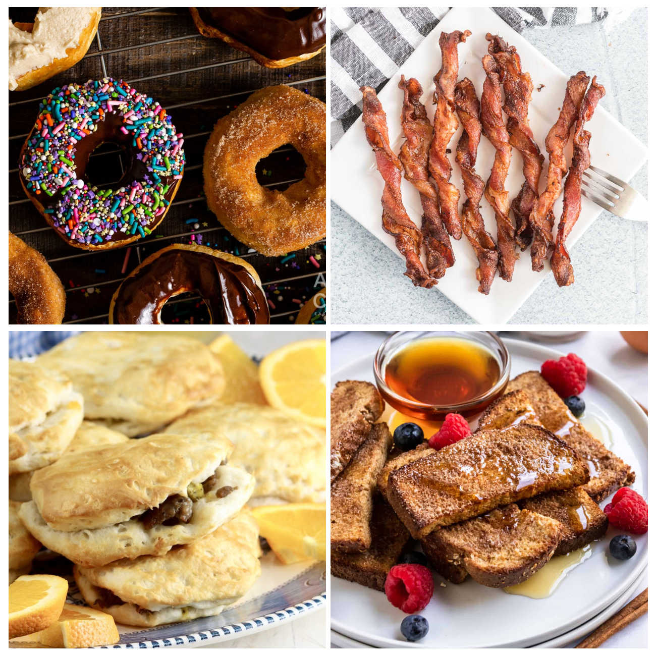 4 breakfast recipes collage.