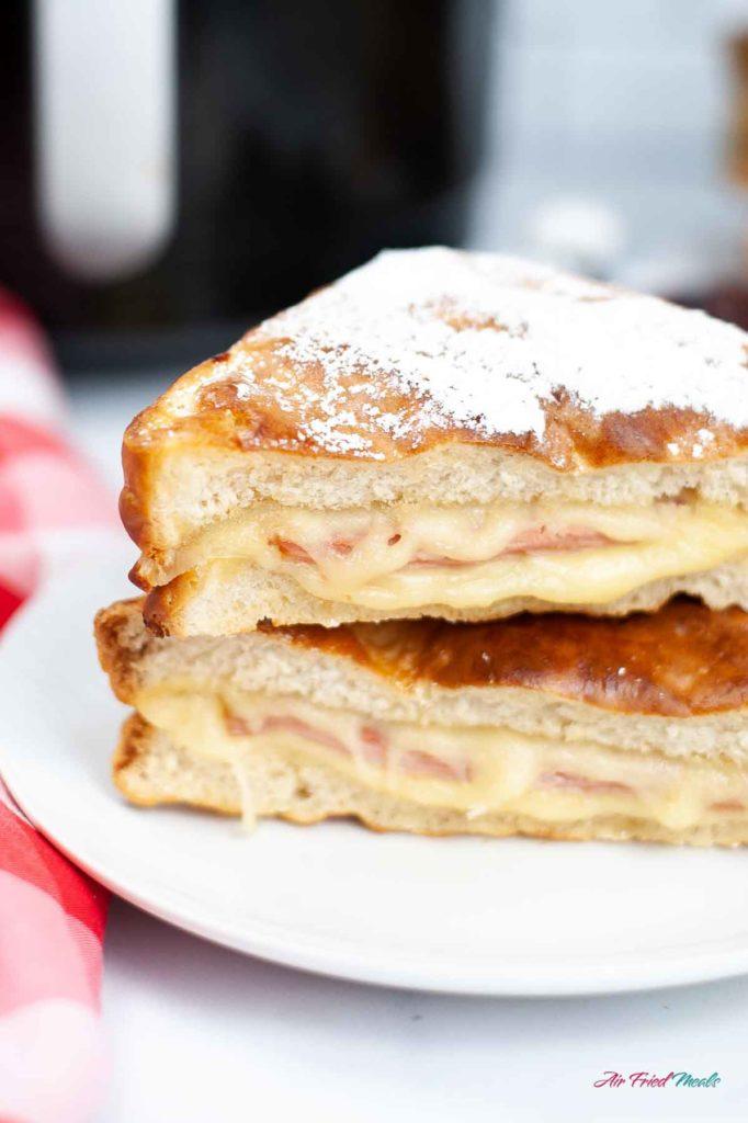 Closeup of stacked Monte Cristo Sandwich.