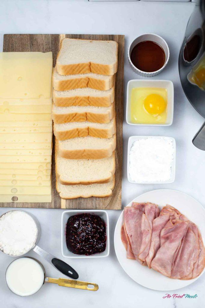 Monte Cristo sandwich ingredients.