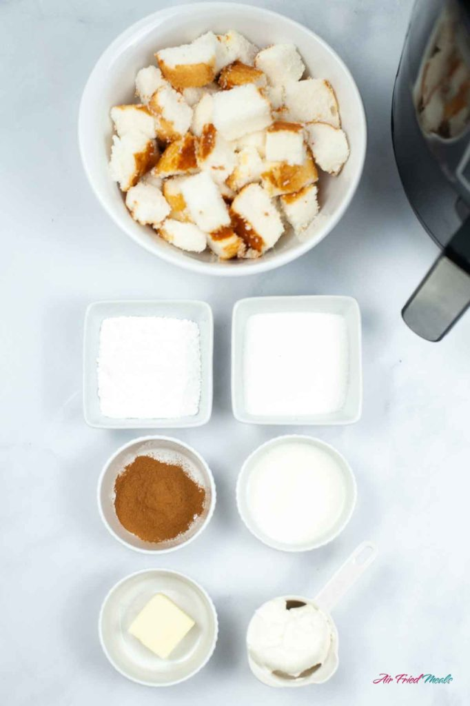 Ingredients for Air fryer churro bites from angel food cake.